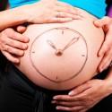 Mujer embarazada y mostrando el ciclo menstrual